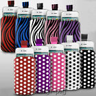 POLKA DOT & ZEBRA (PU) LEATHER PULL TAB POUCH CASE FOR ALCATEL MOBILE PHONES