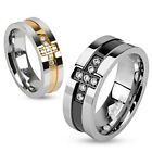 316L Stainless Steel Two Tone Paved Multi CZs Cross Couple Band Ring Size 5-13
