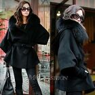Women's Faux Fur Collar Hooded Double Breasted Batwing Cape Poncho Coat Jacket