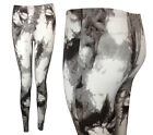NEW GREY WHITE TIE DYE SPLASH PRINT STRETCHY LONG LEGGINGS SIZE 8-18