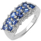 Malaika Sterling Silver 1ct TGW Trillion-cut Tanzanite Ring