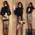 Sexy Women Gold Crochet High Waist Hollow Party Cocktail Pencil Skirt
