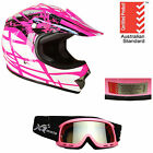 KIDS HELMET YOUTH SUIT DIRT BIKE PEEWEE QUAD MOTOCROSSS MX BMX PINK + GOGGLES