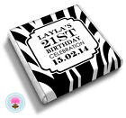 Personalised ZEBRA Print 13th 16th 18th 21st 30th Birthday Favour Chocolates