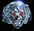 Lion Head Ring Genuine Sterling silver 925 Ruby eyes Jewelry Pick your size