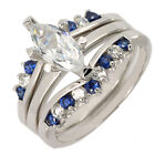 1.3CT Sapphire Marquise CZ Sterling Silver 925 3 pieces Lady Ring Set SZ 5-10