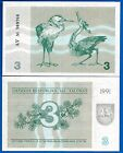 Lithuania P-33b 3 Tolonas Year 1991 Uncirculated FREE SHIPPING