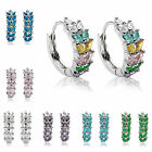 Lady Gift Oval Cut Green Emerald White Gold Plated Earrings Fashion Jewelry