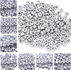 20/50/100g Silver Oblate Coin Acrylic Letters Alphabet Loose Spacer Beads 7mm