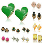 Mixed Choose Diamante Enamel Resin Floral GP Eardrop Clip On Stud Earrings TZ244