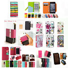 Flip PU Leather Strap Wallet Card Stand Holder Case Cover For iPhone 4/4s 5/5s/c