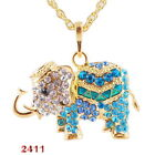 Choosen Color elephant Golden Bead Pendant Necklace Long Chain Jewelry Gift