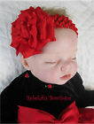Christmas Valentines Day Red Double Ruffle Infant Toddler Hair Bow Headband Clip