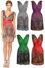 Short Floral Paisley Pattern Print Mini V Neck Casual Day Sun Dress UK 10 to 16