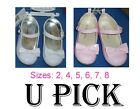 BABY GIRLS HARD SOLE MARY JANE PATENT DRESS SHOES WHITE PINK SHINNY BOW LITTLE