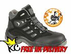 Black non metallic work safety boot - METAL FREE sizes 3-13 toe cap midsole shoe