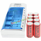 Charger + 8 D Size 11000mAh Rechargeable Battery RED