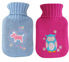 Small Mini Hot Water Bottle with Knitted Cover Owl or Scottie Dog  Gift Idea