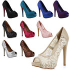 Damen Pumps Spitze High Heels Peep-Toes 71272 Stiletto Schuhe Gr. 36-41 Top