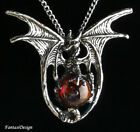 Gothic Bat Wing Dragon 3D Silver Pewter Pendant Necklace Glass Ball Red Blue USA