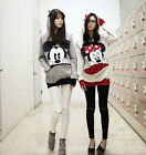 New Ladies Cute Mickey Minnie Mouse Panda Bunny Bear Hoodie Shirt Top Sweater