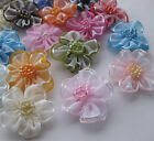 200/40pcs Upick Organza ribbon flowers bows Appliques Craft Wedding Dec A2036