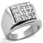 Mens Modern Shape Crystal Stones Silver Stainless Steel Ring