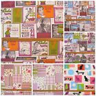 Retro Kitchen, Floral & Cats Dogs Patchwork Scrapbook Style Fabric 1 METRE.