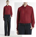 $1,195 GUCCI TOP OVERSIZED BURGUNDY SHIRT SILK GEORGETTE LONG SLEEVES