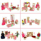 Pink Wooden Dolls House Furniture Miniature 6 Room Set/4 Dolls For Kids Children