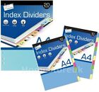 A4 MULTI COLOUR INDEX TAB FILE COLOURFUL DIVIDER SUBJECT DOCUMENT CARDS OFFICE