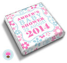 Personalised PRETTY FLOWER in Pink & Blue Baby Shower Party Favour Chocolates