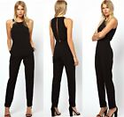 HOT Women's Punk High Waist Slim Fit One Button Leggings Pants Jumpsuits Rampers