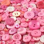 Pink Art & Craft Buttons mixed size large small Round Bulk Wholesale Sewing 100g
