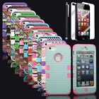 Pen+Hybrid Rugged Rubber Matte Hard Case Cover For iPhone 5 5S w/ Screen Guard