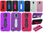 For Samsung Galaxy S5 HYBRID IMPACT KICK STAND Dazzling Diamond Case Cover