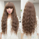 HOT LOVELY WOMENS LADY LONG CURLY WAVY HAIR FULL WIGS COSPLAY PARTY BROWN BJ9K
