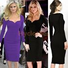 Womens Wear to Work Office Sheath Evening Party Bodycon Midi Pencil Dress D687