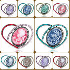 Pugster Antique Vintage Cameo Crystal Carved Heart Shaped Pin Brooches For Women