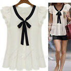 Womens Pleated Chiffon Ruffle Casual Shirt Tops Black Bow Tie Girls Tee Blouse