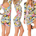 New Womens Adventure Time stamp print Long Sleeve Stretch Bodycon Skirts Dress