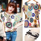 Korea Women Chiffon Casual Batwing Floral Print Loose Tee T-Shirts Top Blouse N4