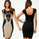 Women's Sexy New Embroidery Stretchy Bodycon Lace Top Wear To Work Pencil Dress