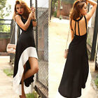Sexy Women Deep U Neck Bare Backless Long Hem Tank Swallow Tail Sleeveless Dress