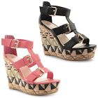 Ladies Wedge Sandals Womens Dolcis High Heels Cut Out Party Evening Shoes Size