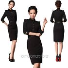 Women Celeb 3/4 Sleeve Stand-Up Collar Evening Party Cocktail Pencil Slim Dress
