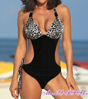 leopard print white One Piece MONOKINI SWIMSUIT SWIMWEAR US SIZE S M L XL