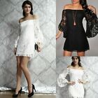 Womens Black/White Lace Off Shoulder Party Evening Mini Dress Bodycon Club Wear