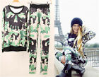 New Set Womens Suit Camouflage Skull Prints Hoodie Sports Sweatshirt Pullover