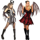 Ladies Costume Halo Wings Halloween Fancy Dress Outfit New Vampire Adullt Women